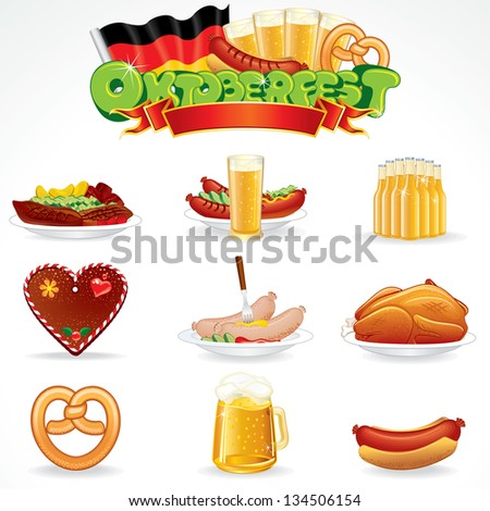 Oktoberfest Food and Drink Icons. Illustration of Various Beverages and Snacks. Vector Clip Art - stock vector