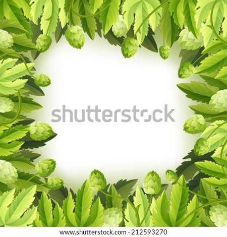 Oktoberfest Frame with Hops and Leaves, vector background