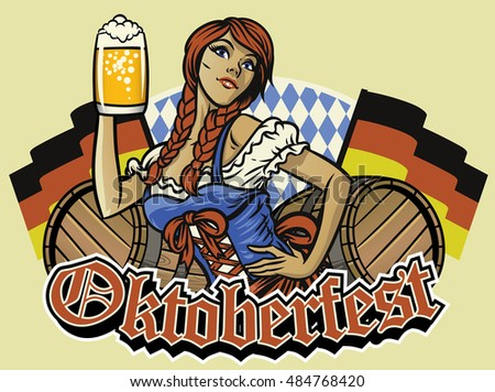 oktoberfest girl with beer and the germany flags