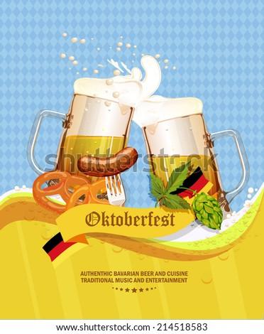 Oktoberfest greeting card. Poster with mug of beer, hops, pretzels, sausages, beer foam, flag of Germany on background of blue rhombuses. Vector illustration.