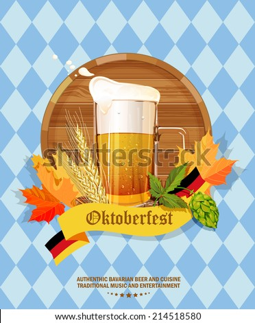 Oktoberfest greeting card. Poster with mug of beer, wooden barrel, wheat, hops, autumn leaves, beer foam, flag of Germany on background of blue rhombuses. Vector illustration. - stock vector