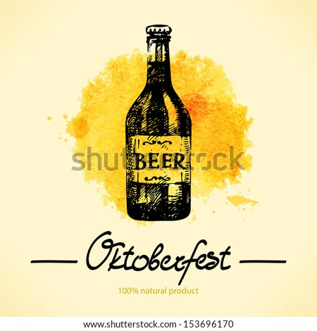 Oktoberfest hand drawn illustration with watercolor back  - stock vector