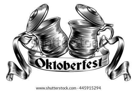 Oktoberfest illustration of a traditional beer stein or tankards chinking together in a prost toast with banner or scroll in a woodcut style - stock vector