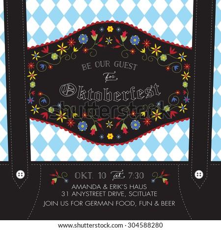 Oktoberfest Invitation Template with Lederhosen Suspenders, Flowers, and Bavarian Flag - Vector
