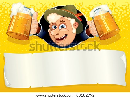 Oktoberfest Poster with smiling Brewer, ready for your text or design, vector template. - stock vector