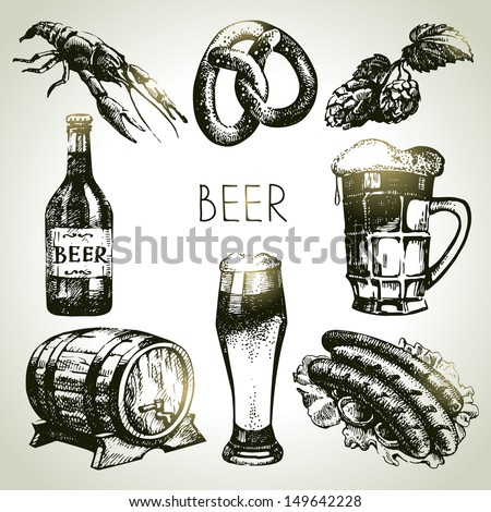Oktoberfest set of beer. Hand drawn illustrations  - stock vector