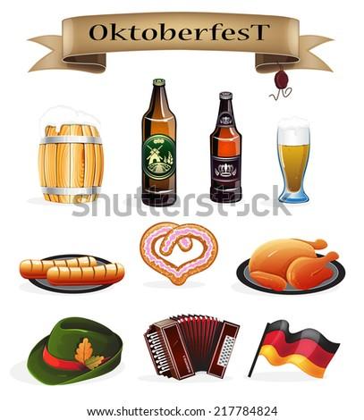 Oktoberfest symbols on a white background - stock vector