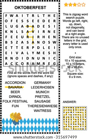 Oktoberfest Themed Word Search Puzzle English Language Answer Included