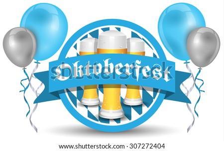 oktoberfest vector icon with beer and balloons - stock vector