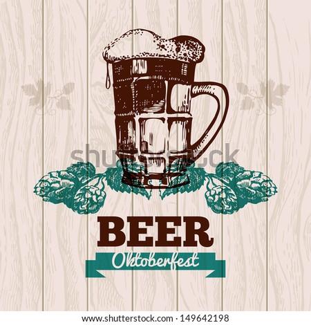 Oktoberfest vintage background. Beer hand drawn illustration. Menu design - stock vector