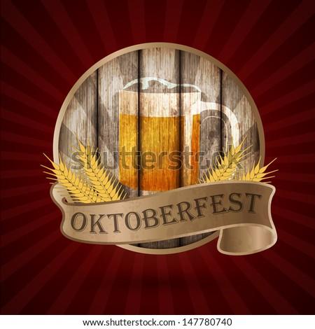 Oktoberfest vintage design, Vector illustration.