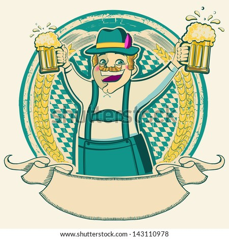 oktoberfest .Vintage label with man and glasses of beer on old background texture isolated on white - stock vector