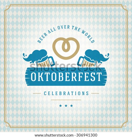 Oktoberfest vintage poster or greeting card and textured background. Beer festival celebration. Vector illustration. - stock vector