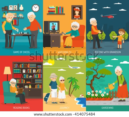 Old aging people quality life 6 flat icons composition  with  traveling and hobbies abstract isolated vector illustration - stock vector