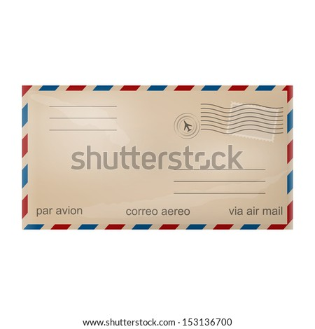 Old airmail envelope - stock vector