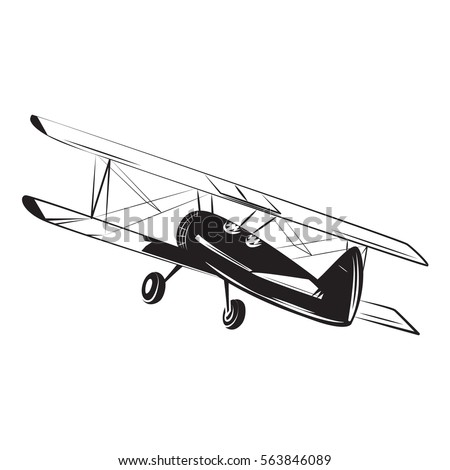 Old Airplane Biplane Piston Engine Sketch Stock Vector 2018