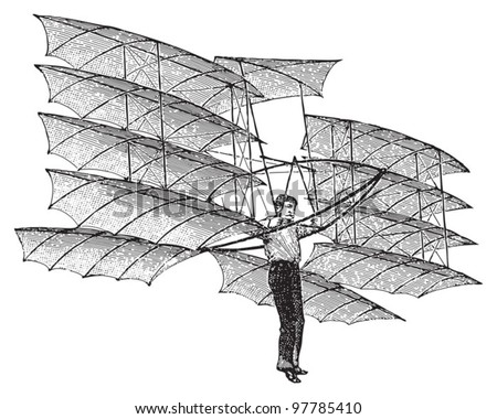 Old airplane / vintage illustration from Meyers Konversations-Lexikon 1897 - stock vector