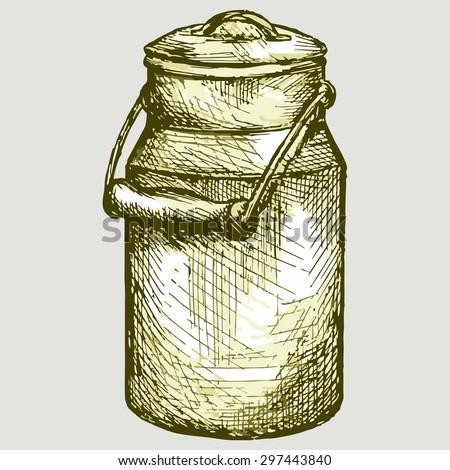 Old aluminium milk can. Vector Image - stock vector