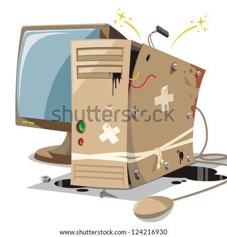 old and broken computer - stock vector