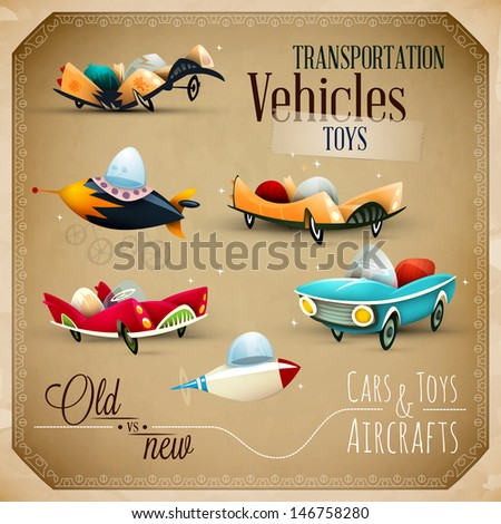 Old and New Toys | Aircraft, planes and Vehicles | EPS10 Vector Set - stock vector