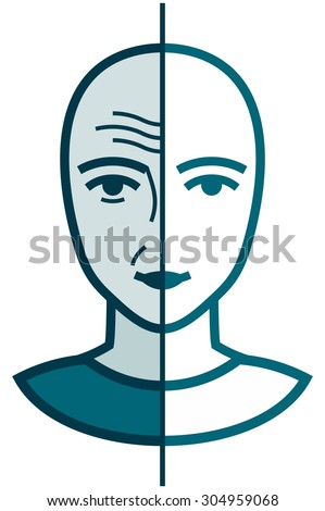 Old and young face. Wrinkled and smooth. Before and after cosmetic treatment vector illustration isolated - stock vector