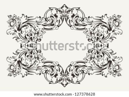 Old Antique High Ornate Frame - stock vector