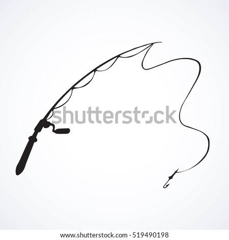 Old arm coil spinnerbait bob set isolated on white backdrop. Outline black ink hand drawn picture logo sketch in art retro cartoon engraved graphic style pen on paper. Closeup view with space for text
