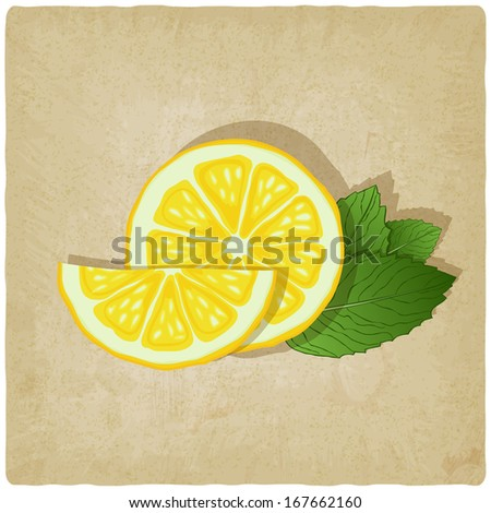 old background with lemon - vector illustration - stock vector