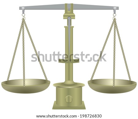 Old balance scale with two plates. Vector illustration. - stock vector
