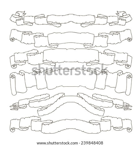 Old banners, ribbons and manuscripts set isolated on white background. - stock vector