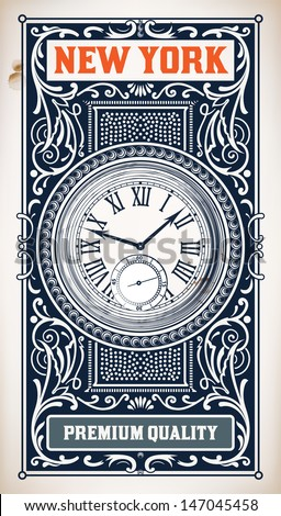 Old baroque card. Floral and watch details - stock vector
