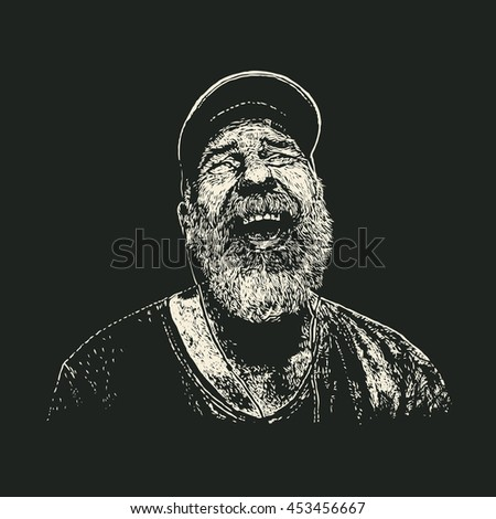 Old Bearded Man With Headphones Listening To Music. Retro Engraving Linocut Style.Vector Illustration