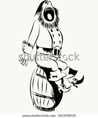 old bearded pirate sitting on a barrel and shouts - stock vector