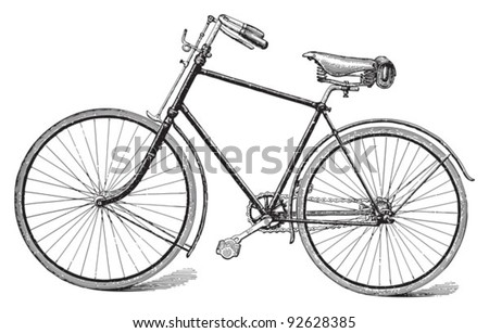 Old bicycle / vintage illustration from Meyers Konversations-Lexikon 1897 - stock vector