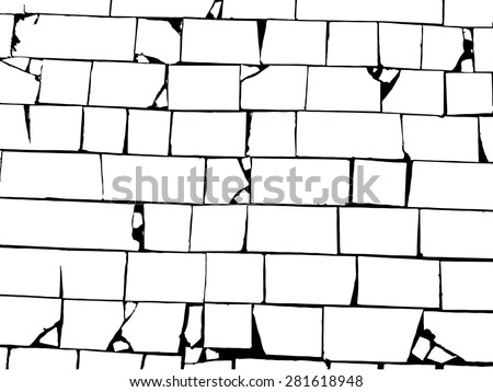 old black-and-white brick wall - stock vector