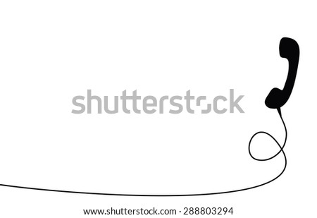 Old black handset on the white background - stock vector