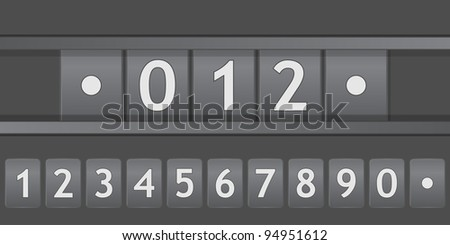 old black scoreboard with numbers - stock vector
