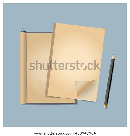 Old blank catalog, magazine, book template with soft shadows. Ready for your design. Vector illustration.