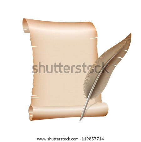 old blank scroll paper and feather pen on white background. vector illustration - stock vector