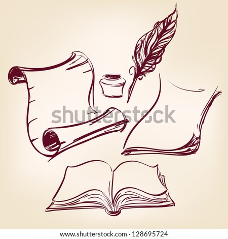 old blank scroll paper and feather pen vector illustration
