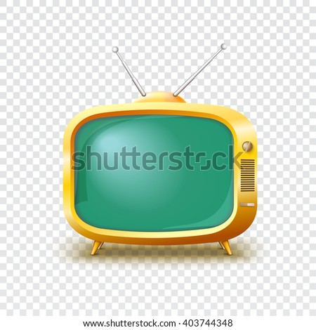 Old blank TV icon on transparent background, Vector illustration for your presentation, posters, cover and other design
