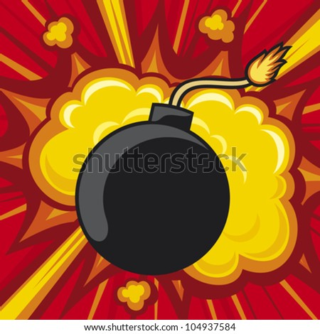 old bomb starting to explode (comic book explosion) old style bomb - stock vector