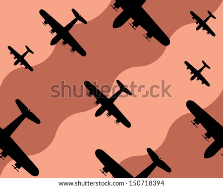 old bomber background, seamless pattern - stock vector