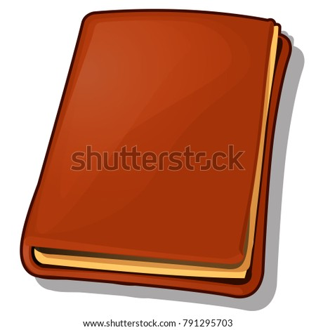 Old Book With Leather Brown Cover Isolated On White Background Cartoon Vector Illustration Close