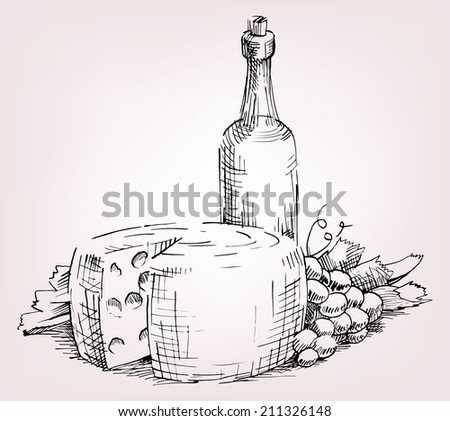 old bottle wine, cheese, grape, leafe and vine - stock vector