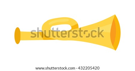 Old brass bugle horn trumpet isolated on white background and horn trumpet vector. Melody horn trumpet musical and sound horn trumpet symbol. Metal bugle musician classical play shiny horn. - stock vector