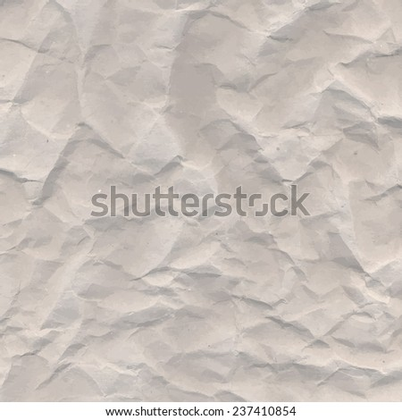 Old brown crumpled paper vector texture with wrinkles - stock vector