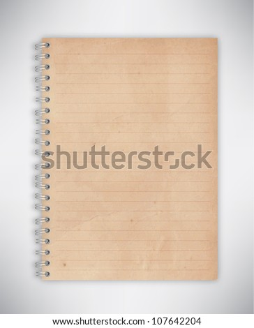 Old Brown Notebook Vector - stock vector