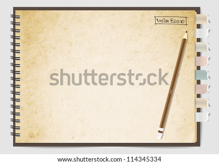 Old Brown paper notebook, Vector illustration - stock vector