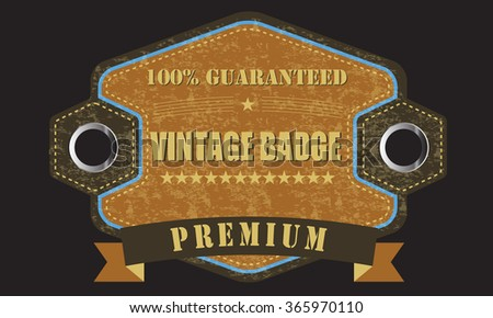Old brown retro vintage grunge realistic label with metalic holes and ribbon. Premium quality - stock vector